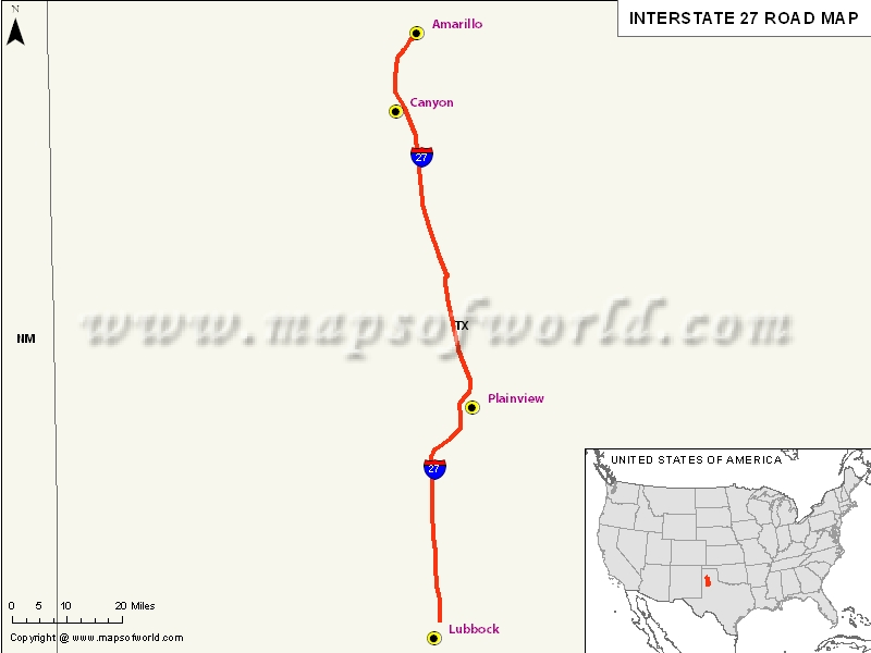 USA Interstate 27 Map