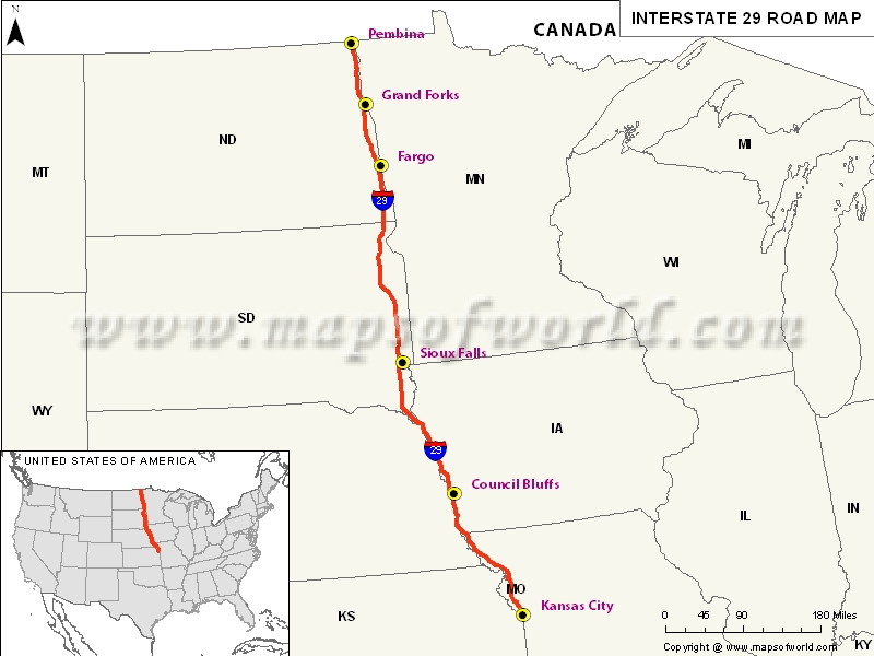 US Interstate I Map Kansas City Missouri To Pembina - North dakota road map with cities