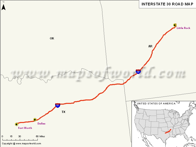 USA Interstate 30 Map