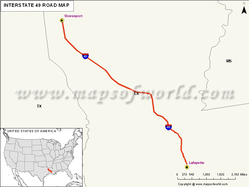 USA Interstate 49 Map