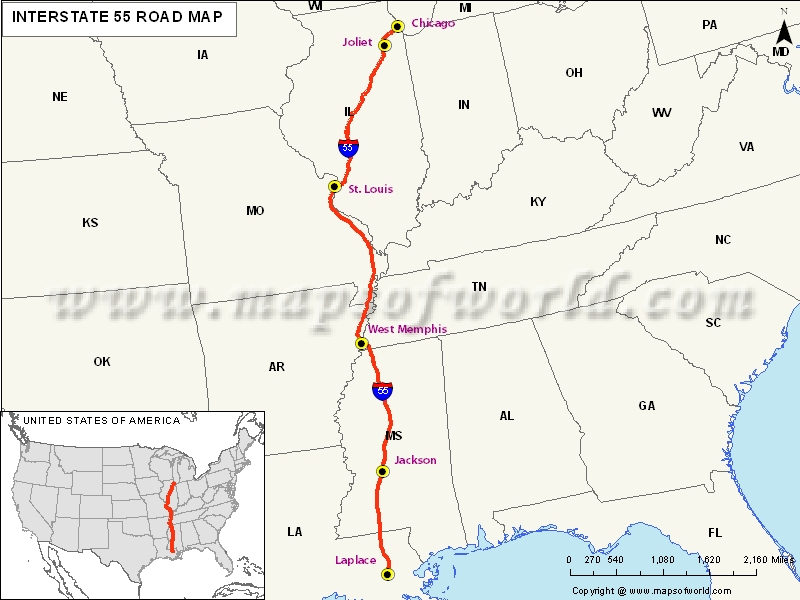 US Interstate I Map Laplace Louisiana To Chicago Illinois - Illinois on the us map