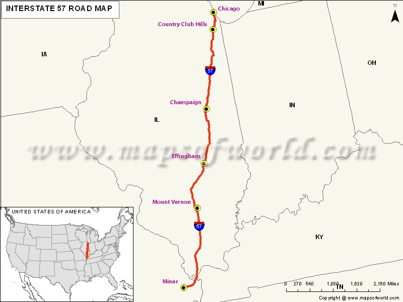 USA Interstate 57 Map