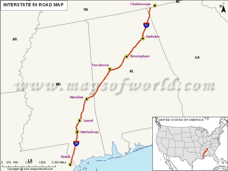 USA Interstate 59 Map