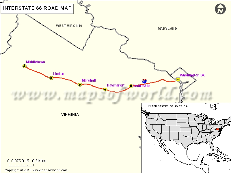 USA Interstate 66 Map