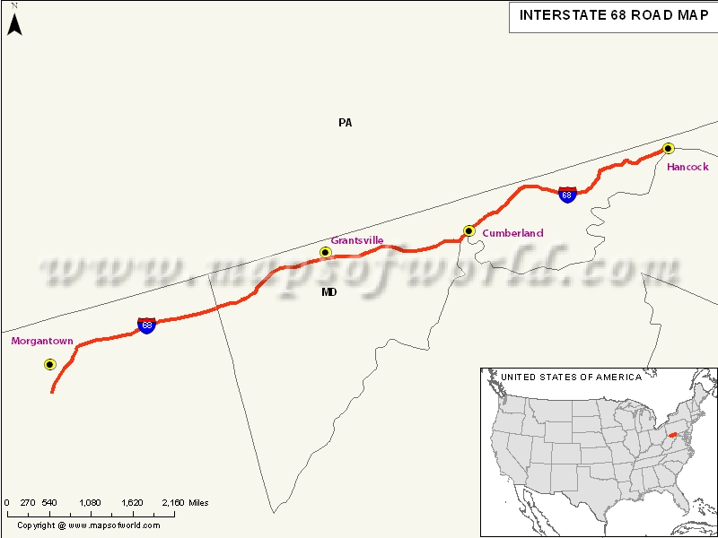 USA Interstate 68 Map