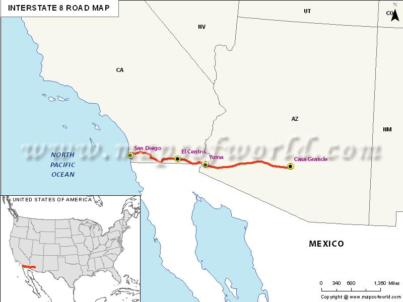 USA Interstate 8 Map