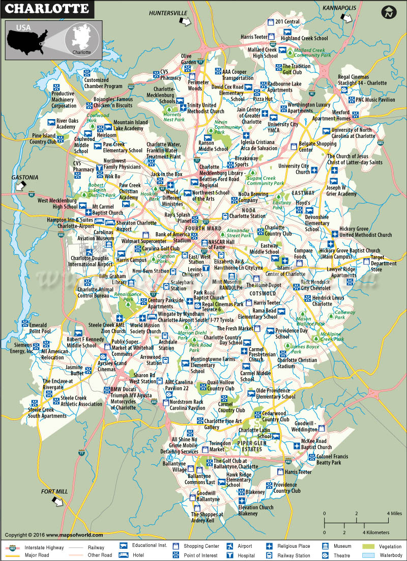 Charlotte Map North Carolina