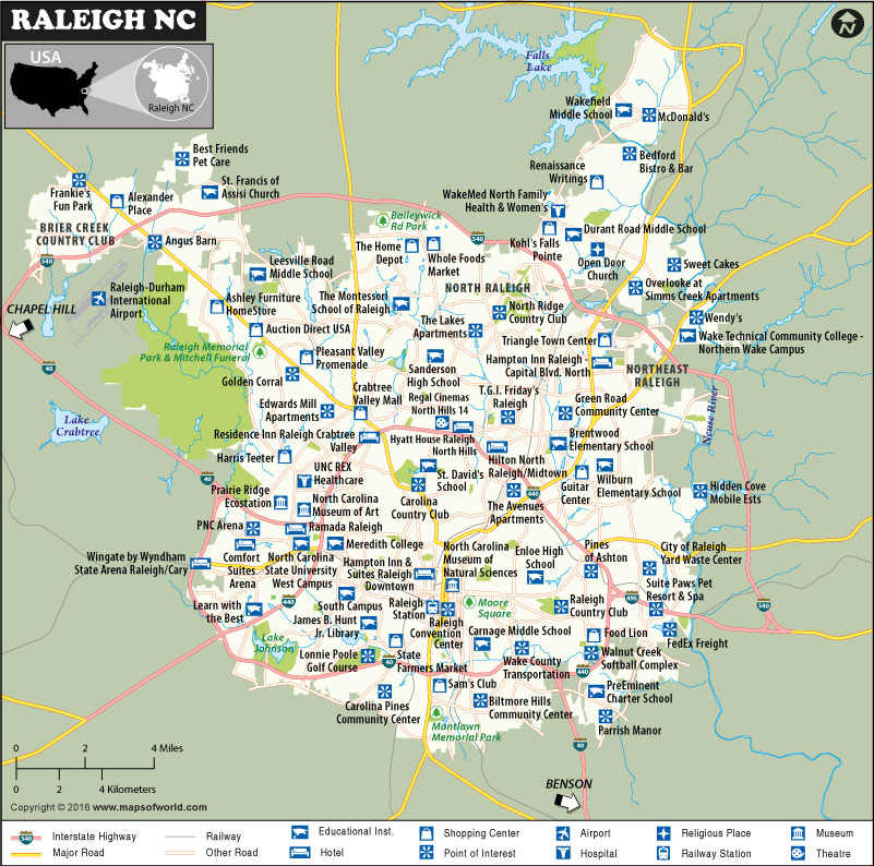 Raleigh Map, North Carolina