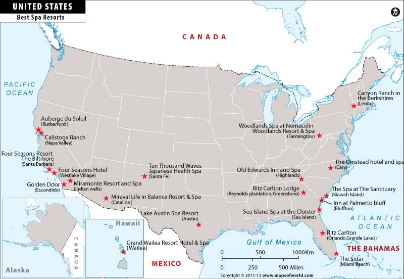 best spa resorts in usa map