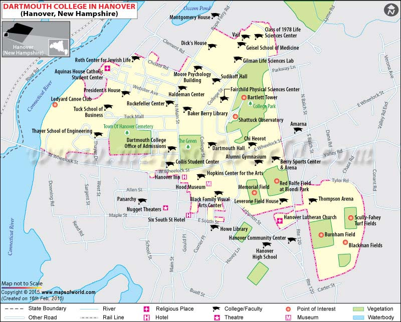 Dartmouth College Map Dartmouth College Location Map - New hampshire map usa