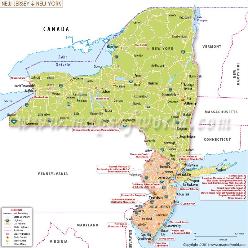 Map Of New York And New Jersey New York and New Jersey Map