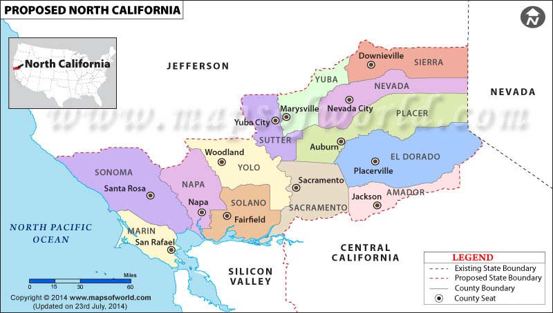 North California Map (Proposed U.S. State)