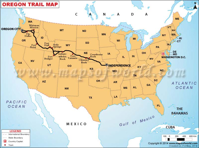 Oregon Trail Map Map Of Oregon Trail - Oregon map us