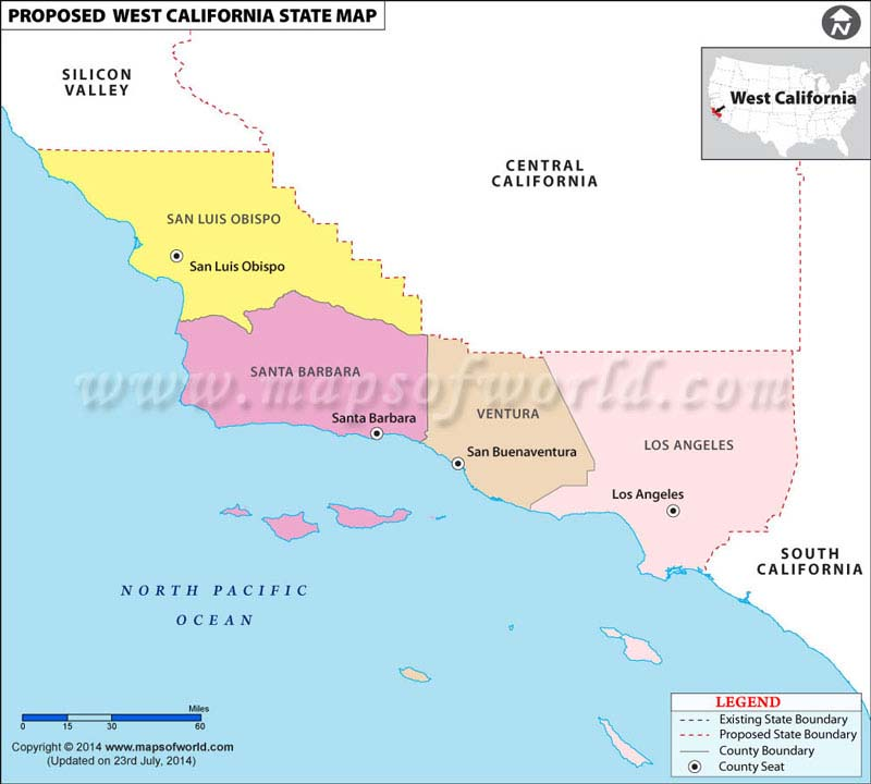 west california map proposed u s state