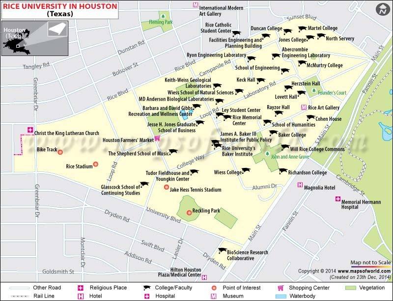 Rice University Location Map Fees Majors Academic Achievements - Houston location in usa