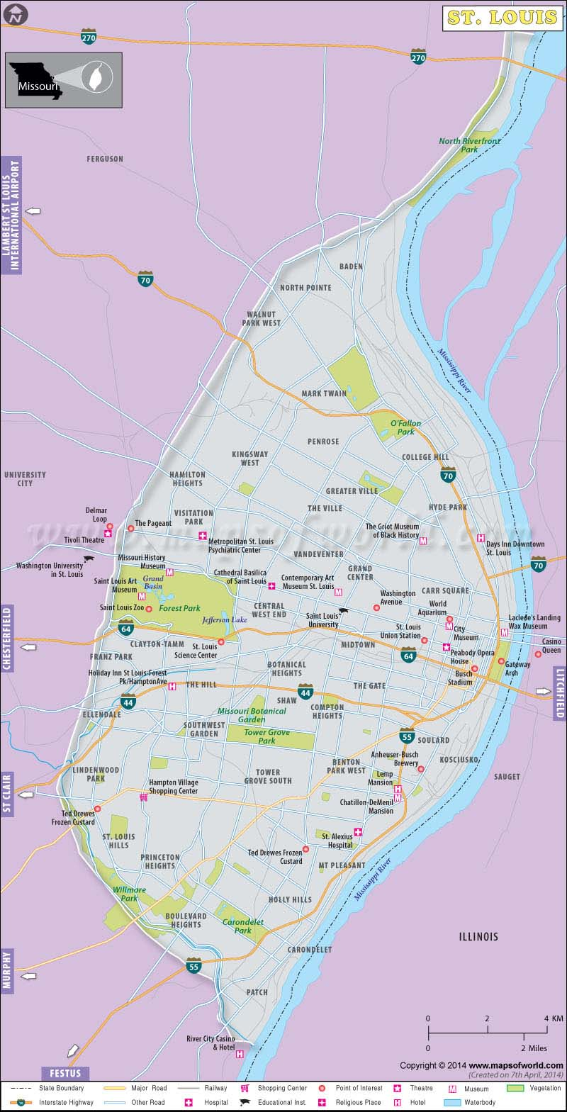 St Louis Map, Map of St Louis, St Louis Missouri Map