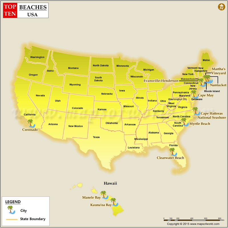 Map Of Us Beaches Best Beaches in the USA, Top 10 Beaches in US