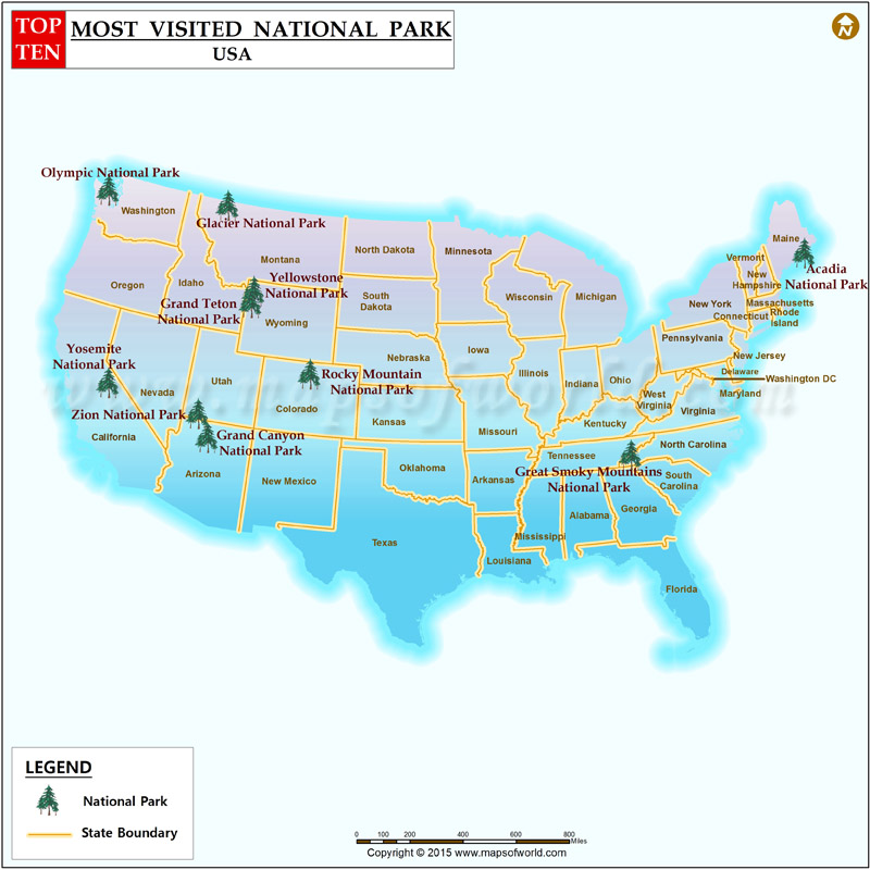 Ten Most Visited National Parks In The US Top Most Visited - National parks in usa