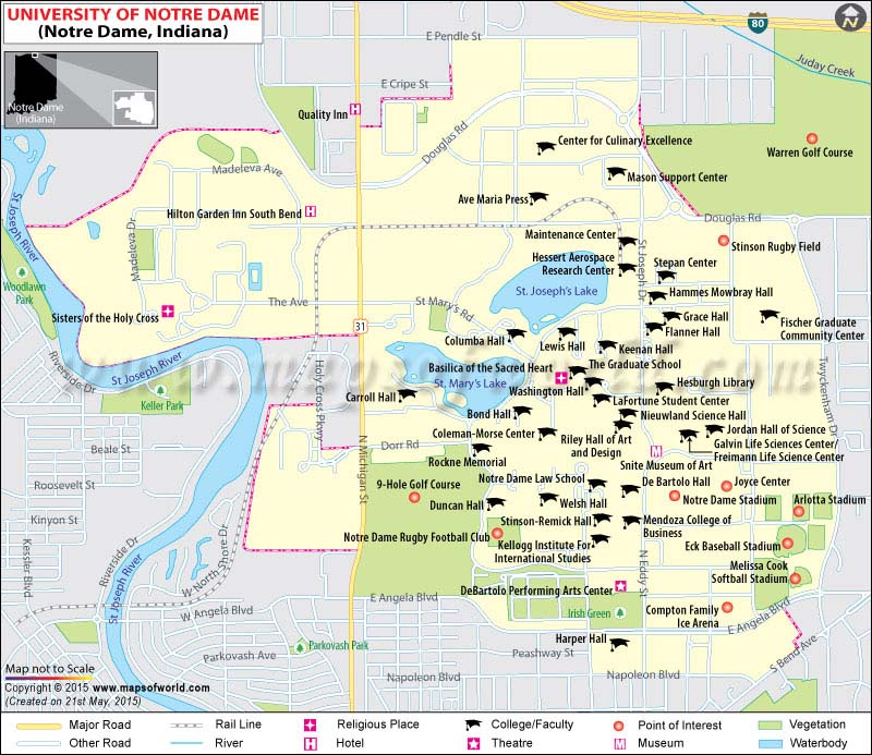 University Of Notre Dame UND Where Is Campus Map And Info - Colleges research map us