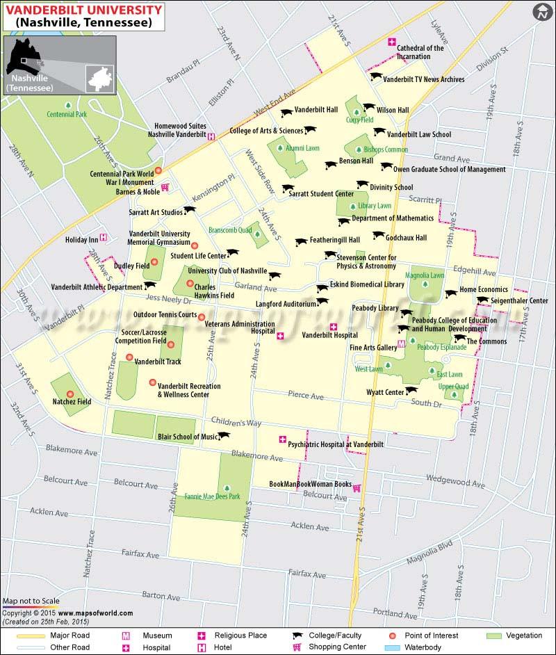 Map Of Vanderbilt University In Nashville Tennessee Usa: Nashville Usa Map At Infoasik.co