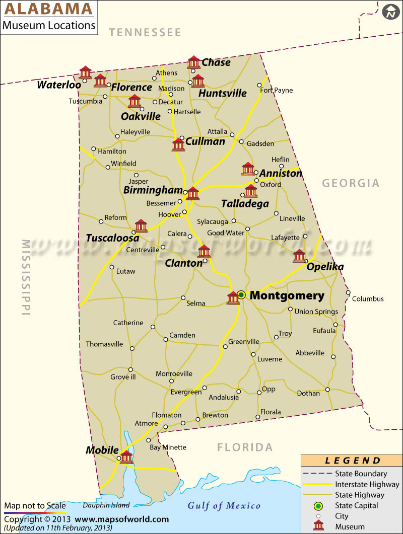 Alabama Museums Map