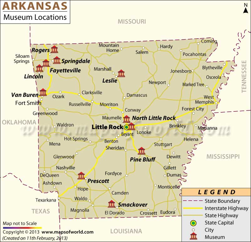 Arkansas Museums Map