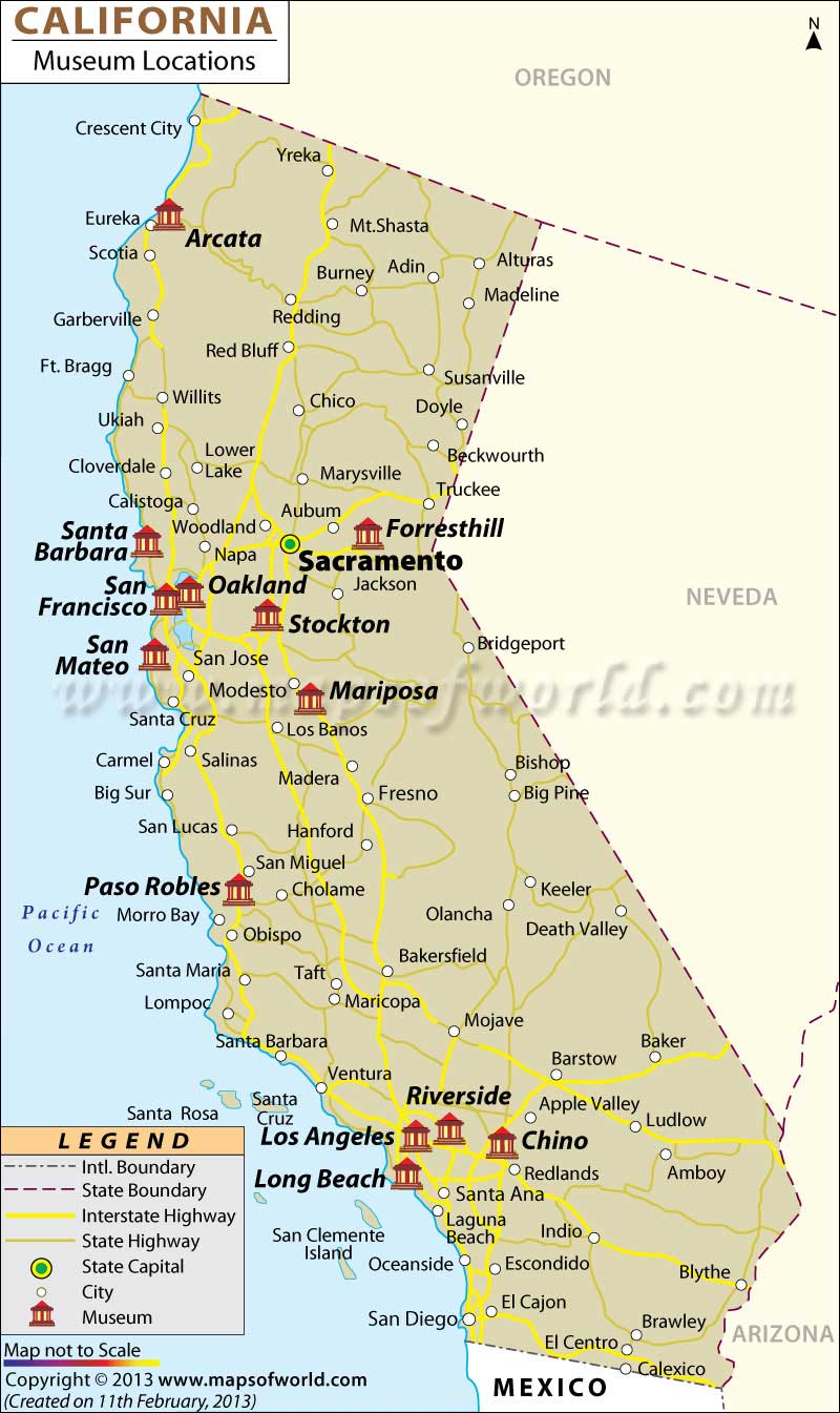 List Of Museums In California California Museums Map - Map of californa