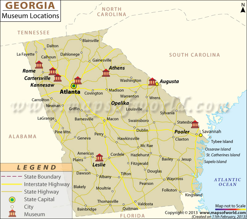 List Of Museums In Georgia Georgia Museum Map - Maps of georgia usa