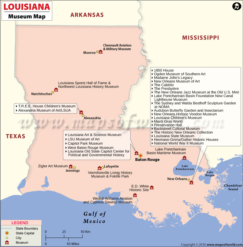 Louisiana Museums Map