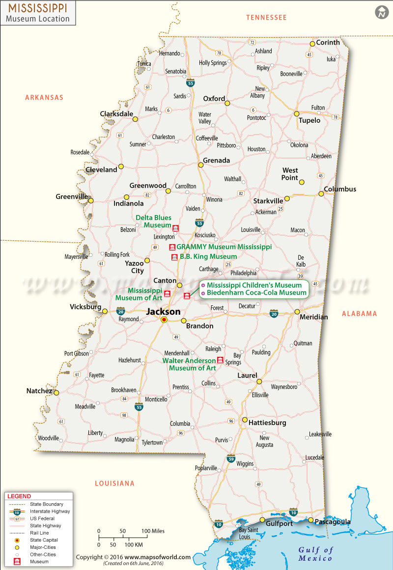 Mississippi Museums Map