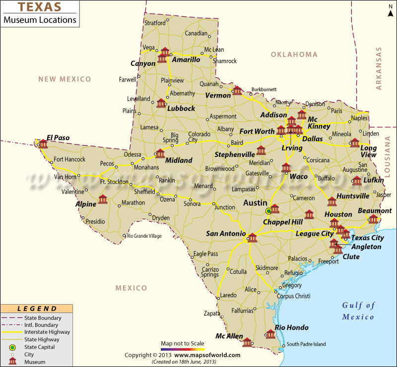 List Of Museums In Texas Texas Museums Map - Map of the texas
