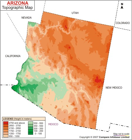 Arizona Topographic Map USA