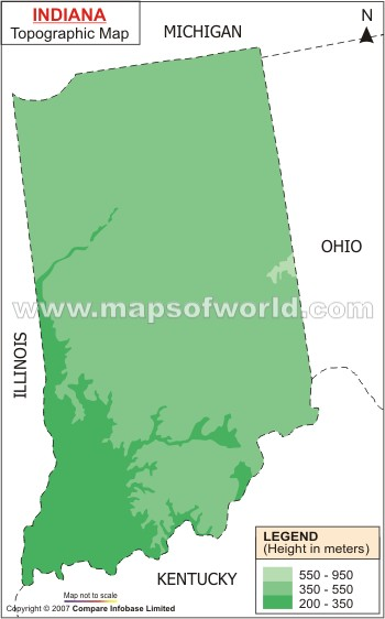 Topography Map Of Ohio.Indiana Topographic Map