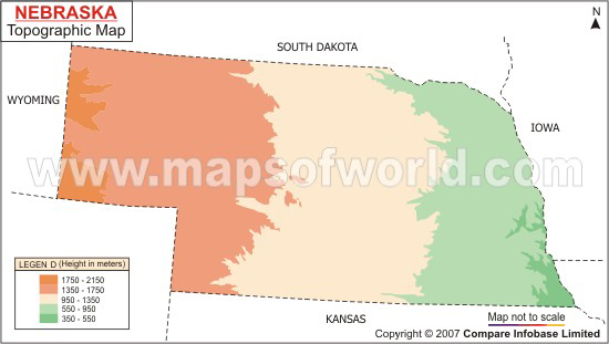 Nebraska Topographic Map - Nebraska physical map