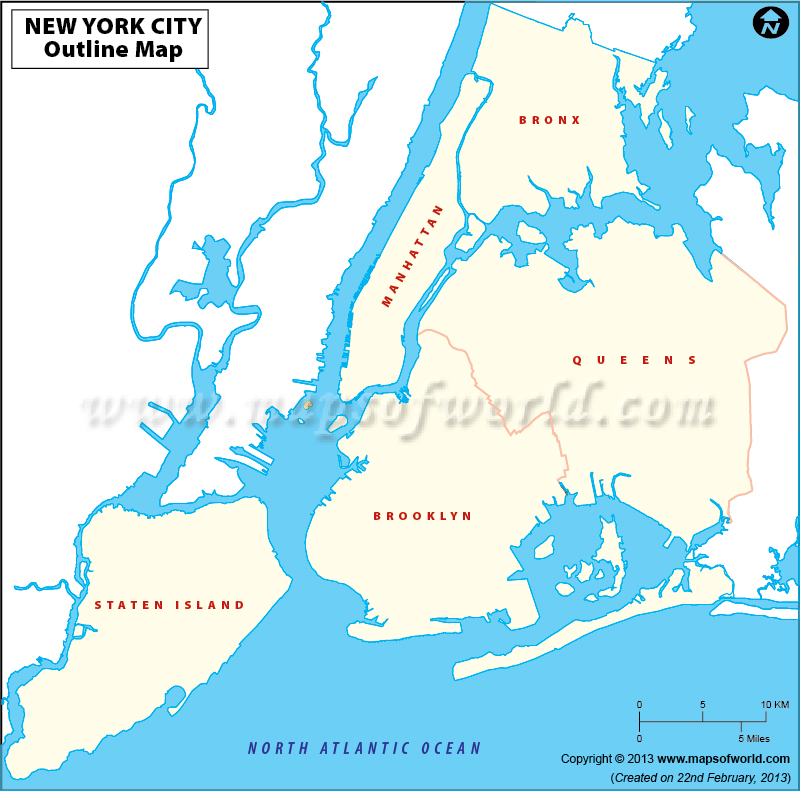 Blank Map Of New York City New York City Outline Map - New york map us