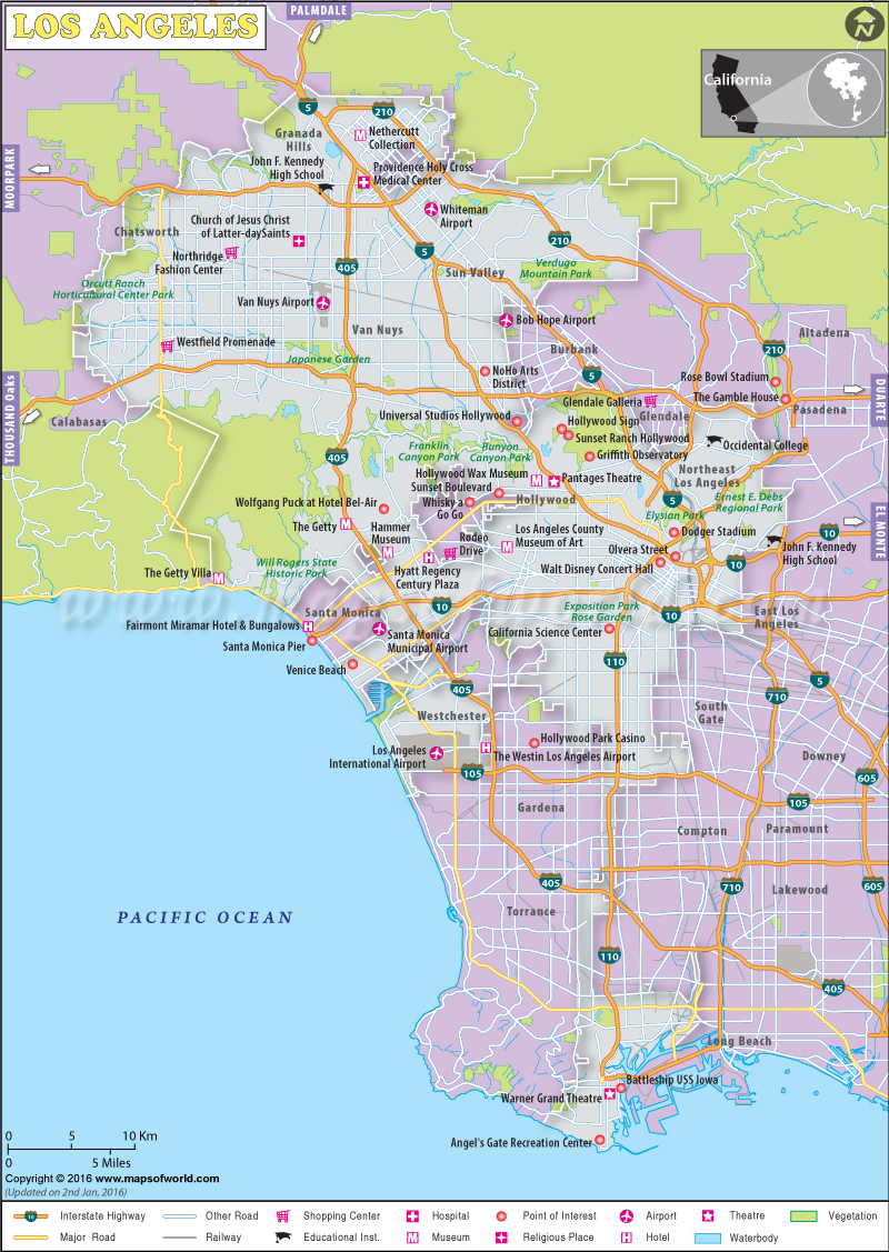 Los Angeles Map, Map of Los Angeles City, California, LA Map