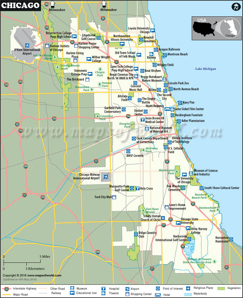 Chicago Map, Map of Chicago Neighborhoods, Chicago Illinois Map