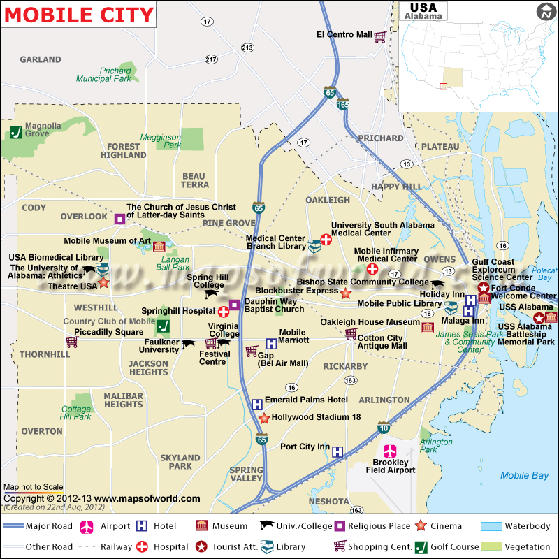 Mobile City Map Map Of Mobile City Alabama - Map of usa and cities