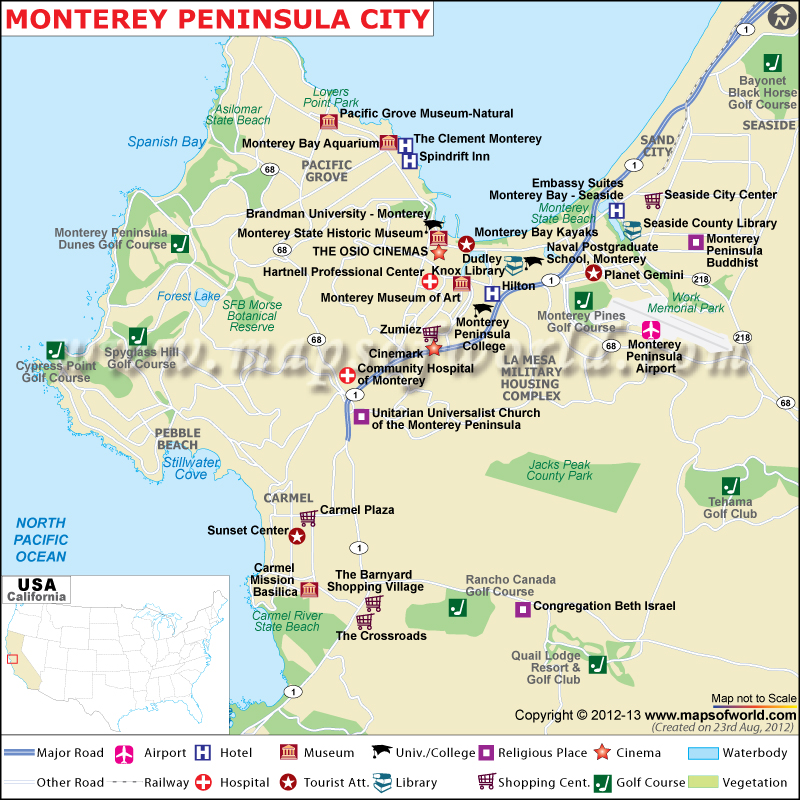 Monterey Peninsula Map City Map of Monterey Peninsula