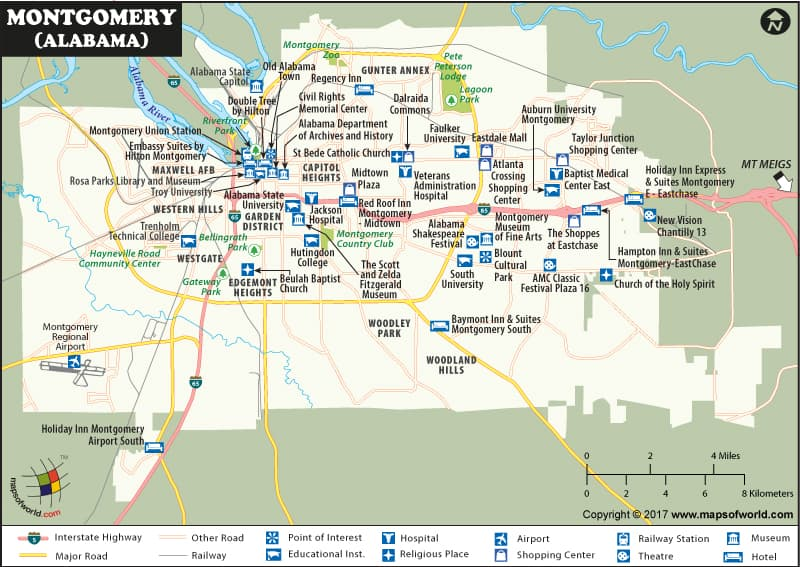 Montgomery Map | The Capital of Alabama | Map of Montgomery