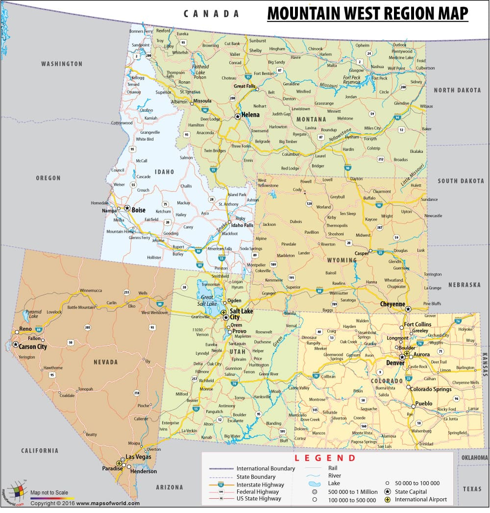 Mountain West Region Map