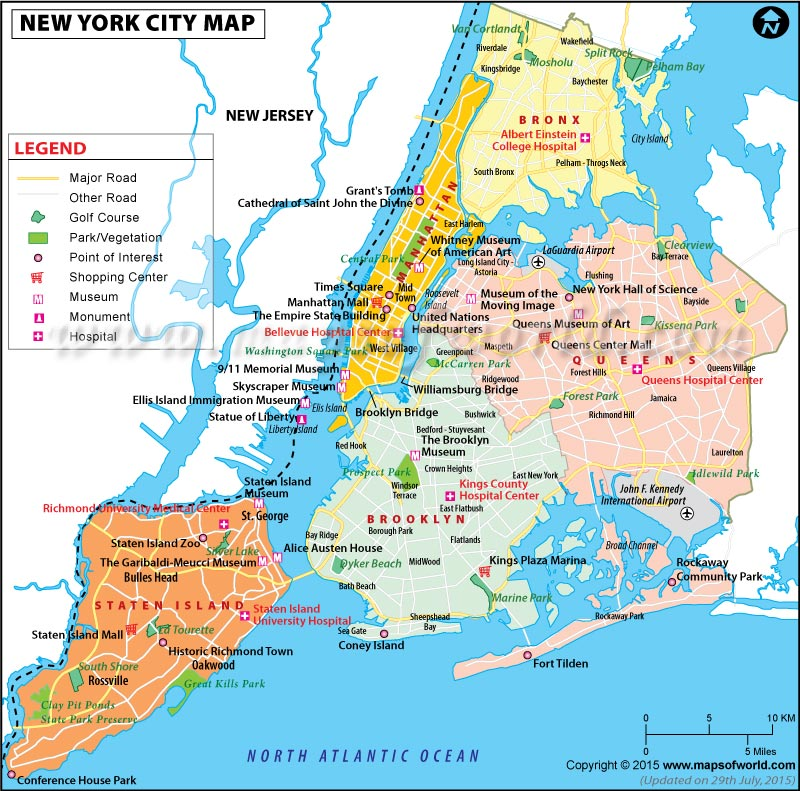 NYC Boroughs Map, 5 Boroughs, Five Boroughs of NYC