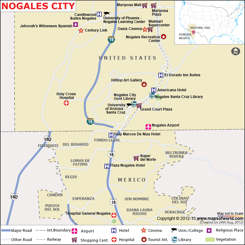 Where Is Nogales Arizona On A Map Nogales Map | City Map of Nogales