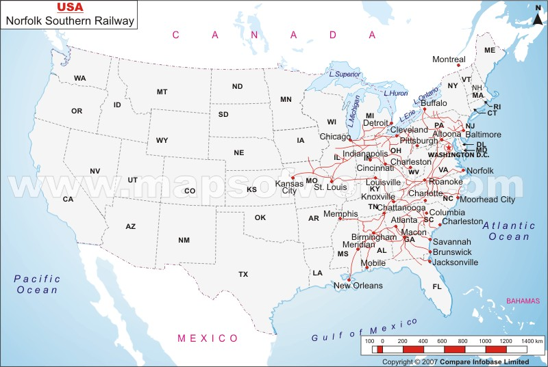 Southern Railway - Map of us rail network