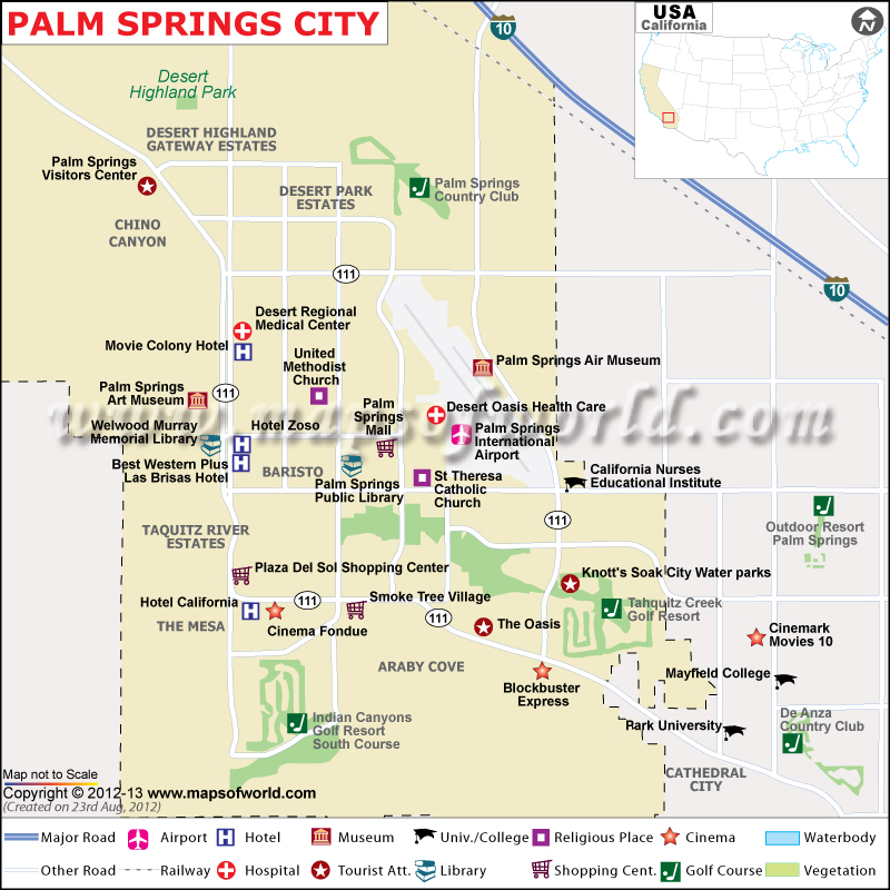 Palm Springs Map City Of: Map San Diego Palm Springs At Usa Maps