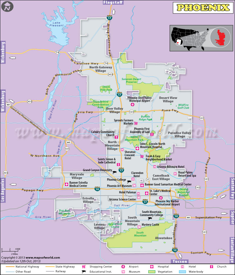 Map Of Arizona With Major Cities.Phoenix Map Map Of Phoenix Az Capital Of Arizona