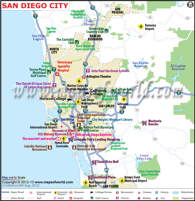 San Diego City Map CA San Diego California Map