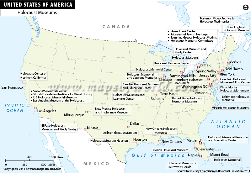 US Map Holocaust Museums in USA