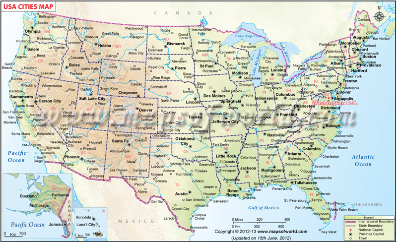 USA Cities Map, Cities Map of USA, List of US Cities