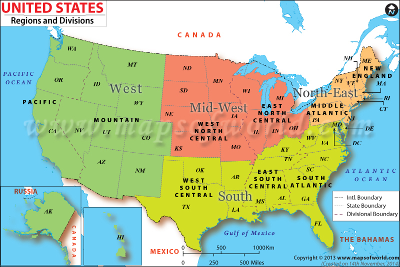 US Regions Map - The united states of america map